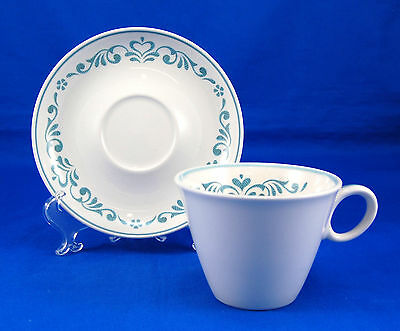 Franciscan BLUE FANCY Flat Cup and Saucer Set 2.75 in. Whitestone Ware Hearts