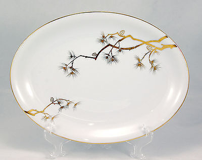 Norleans PINE GOLD Oval Serving Platter 12.25 in. Gold Branches Pine Cones White