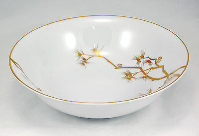 Norleans PINE GOLD Round Vegetable Bowl 9.375 in. Gold Branches Pine Cones White