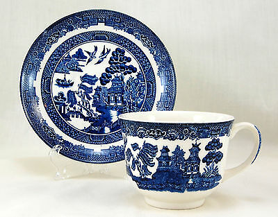 Johnson Brothers WILLOW - BLUE Flat Cup and Saucer Set 2.625 in. Design Handle
