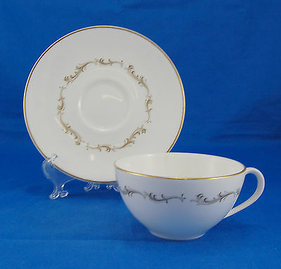 Royal Doulton FRENCH PROVINCIAL H4945 Flat Cup and Saucer Set 2.125 in. Scrolls