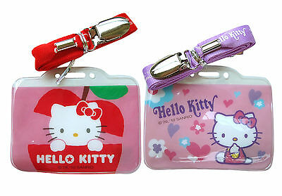 New Sanrio HELLO KITTY ID Credit CARD Ticket HOLDER Name Tag w/ Lanyard x 2 pcs
