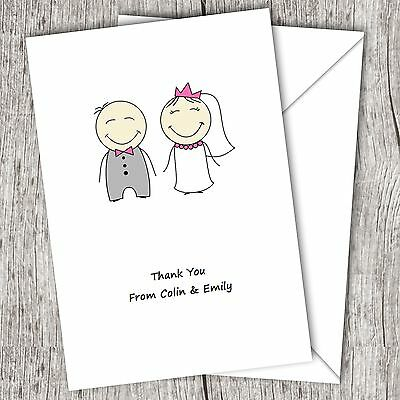 Personalised WEDDING Thank You Cards • Fast Post • Cute Couple • Folded