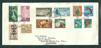 NZ 1960 pictorials original 12 values on addressed plain cover to Australia.