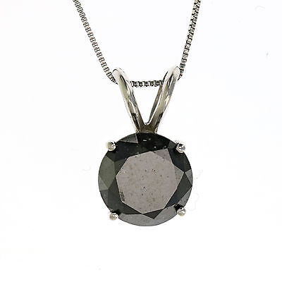 f4472ff16 2 Ct Black Diamond Necklace In 14K White Or Yellow Gold With 18 Inches Chain
