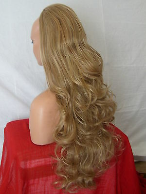Half Wig Fall Clip In Hair Piece Curly Long 3/4 wig fall blonde Mix synthetic X8