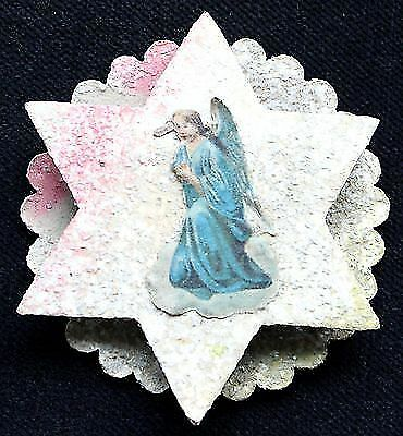Vintage paper cardboard Christmas Ornament,   Star with Blue Angel