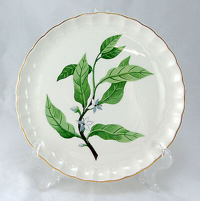 W. S. George B8760 Luncheon Plate 9.25 in. Green Leaves Gold Trim Flowers Fluted
