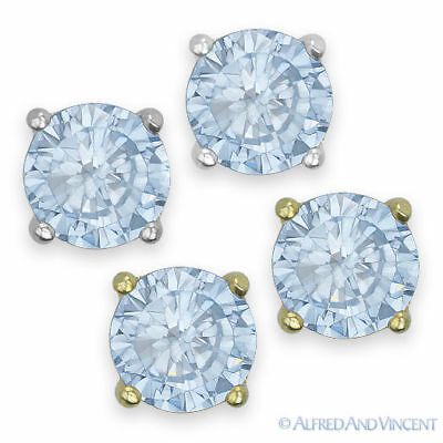 Round Cut Cubic Zirconia CZ Faux Aquamarine Sterling Silver Stud Earrings March