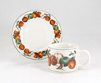 Oneida China APPLES AND WARBLERS Flat Cup and Saucer Set 2.75 in. Brown Birds