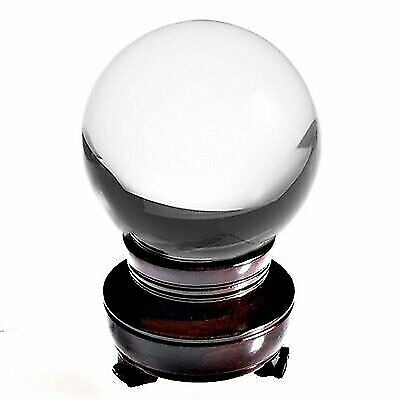"""Clear Crystal Ball 130mm 5"""" Include Wooden Stand and Gift Package"""