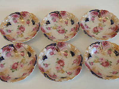 Vintage Hand Painted Germany Lusterware Fruit Cup Bowls Set 6 Pink Rose Blue