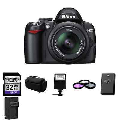 Nikon D3000 Digital SLR - Black  w/ 18-55mm VR Lens + 32GB, 2 Batteries + More!