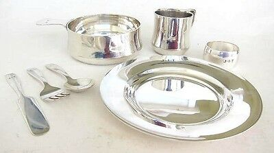 Sterling Silver TIFFANY Baby Set -Plate,Porringer,Cup,Ring & Flatware 22.20 toz