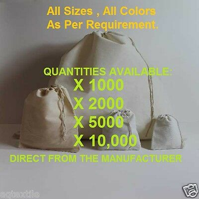 """Muslin bags with Drawstring * Direct from the Manufacturer""""  See Sizes"""