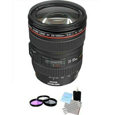 Canon EF 24-105mm f/4L IS USM Autofocus Lens + 3pc Filter Kit, Lens Cleaning Kit