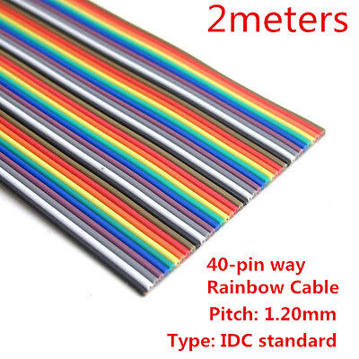 2M 40 Way  Flat Color Rainbow Ribbon Cable 40-pin Wire IDC Cable for Arduino DIY