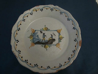 Assiette Faience Nevers Xviii Decor  De Jardinier