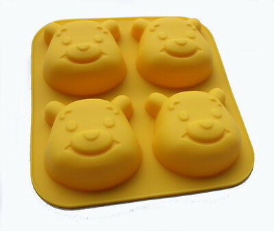 1pcs Four-Little Pooh Bear Mold Food Grade Silicone Cake Mold/Muffin Cupcake Pan