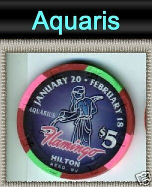 Flamingo Hilton Reno Astrology Sign Casino Chip Aquaris Zodiac Sign
