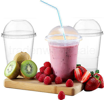 Disposable Smoothie Cups, Plastic Tumblers, Domed Lids Milkshake Glasses 3 Sizes