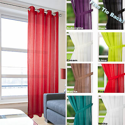 Leona - Linen Effect Eyelet Ring Top Voile Curtain Panel - Net & Voile Curtains