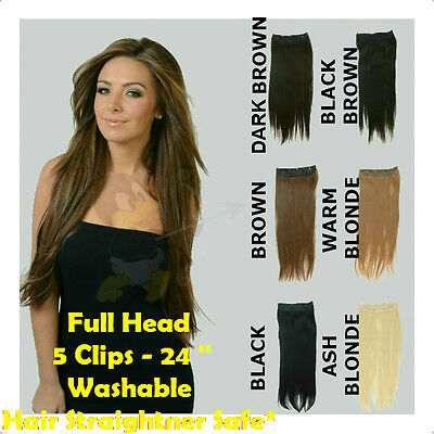 Premium Quality Full Head Clip In On Extensions STRAIGHT 60cm *Like Human Hair*