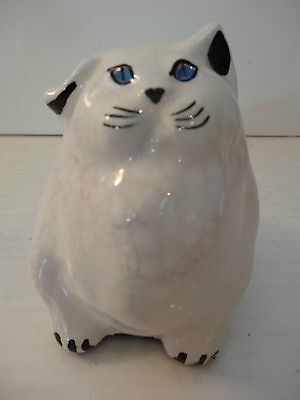Atq Porcelain Cat Fat Kitty Blue Eyes Persian Garfield
