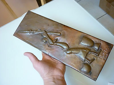 Vintage Antique Tribal Wall Plaque Decoration Scenic Woman Copper Foil Hand Made
