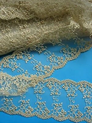 "2.5"" Vintage Metallic Embro Floral Netting Lace-2 yards-T008"