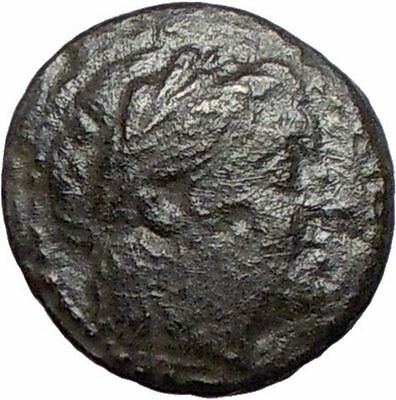 MYRINA  Asia Minor  200BC Rare Ancient Greek Coin  APOLLO Amphora  i27726