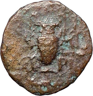 MYRINA  Asia Minor  200BC Rare  Ancient Greek Coin  APOLLO Amphora  i27731