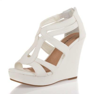 White Strappy Gladiator Wedge Sandal~Open Toe High Heel Women Platform Pump Shoe