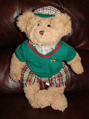 """Russ Berrie and Company Bogey the Golf Bear Plush Doll 15"""""""