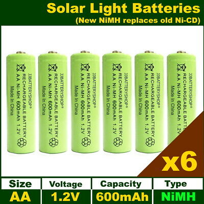6 x AA Solar Light Batteries Rechargeable 1.2V 600mAh NiMH for decorative lights