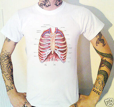 Anatomical Chest T-Shirt Biology Lungs Heart Viscera Medical Vintage Anatomy