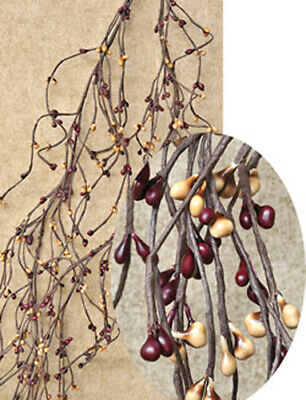 4.5 ft Primitive WISPY Pip Berry Garland ~ Burgundy/Gold
