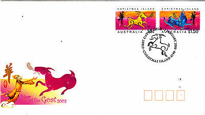 2003 Christmas Island Year Of The Goat (Gummed Stamps) FDC