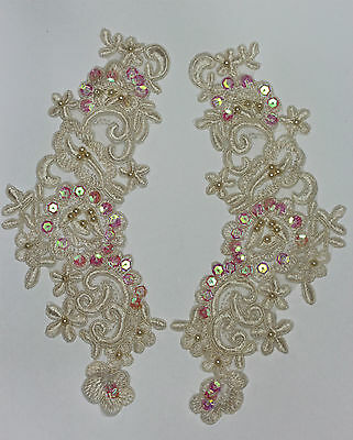 2X Embroidered Venise Lace Sequins & beaded Applique Trim Motif Col Champagne #2