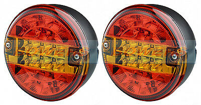 2x 12V/24V LED REAR ROUND HAMBURGER TAIL LAMP LIGHTS LORRY TRUCK CAR VAN TRAILER