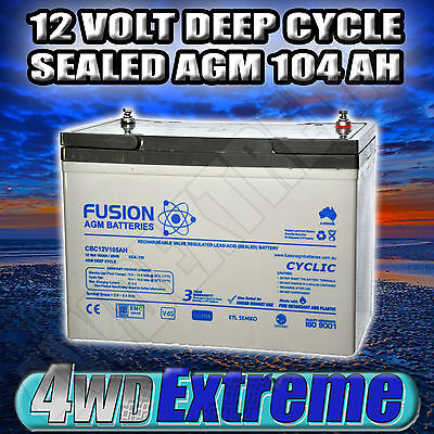 Powerful 12V 105Ah 750Cca Dual Purpose Agm Battery 100A Deep Cycle Caravan Solar