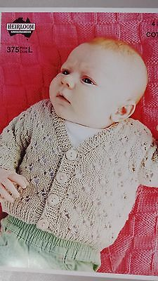Heirloom Knitting Pattern #375 to Knit Baby Cardigan in Cotton 4 Ply