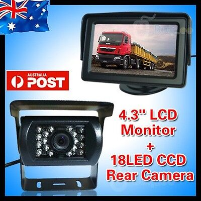 "Car Rear View Kit 4.3"" Lcd Monitor + Ir Night Vision Reversing Camera Bus Truck"