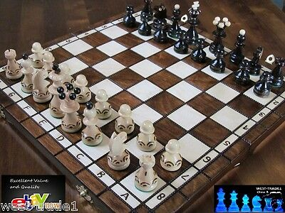 Brand New ♞ Hand Crafted Pearl  Wooden Chess  Set 35cm x 35cm ♜