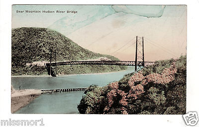 1929 New York Hudson River Bridge Bear Mountain Vintage postcard