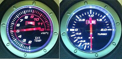 "EXHAUST TEMPERATURE gauge EXT EGT + TURBO Boost Gauge GREEN backlight 2"" 52mm"