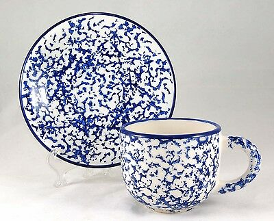 Crate and Barrel CBL50 Flat Cup and Saucer Set 3 in. Blue Sponged on White Italy