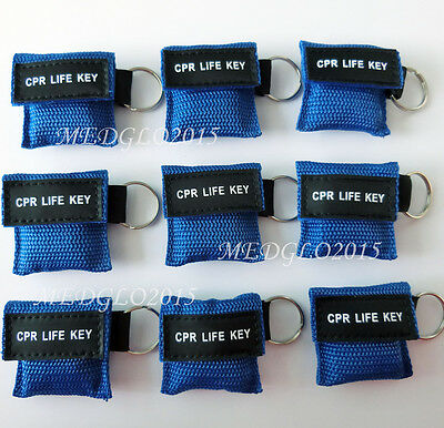100 CPR MASK WITH KEYCHAIN CPR FACE SHIELD AED BLUE POUCH