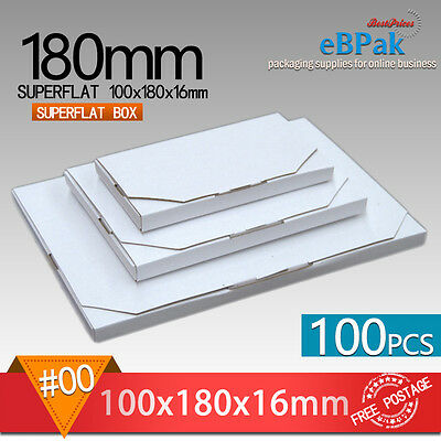 100 #00 SuperFlat 180x100x16mm Large Letter Size Mailing Box * Rigid Envelope