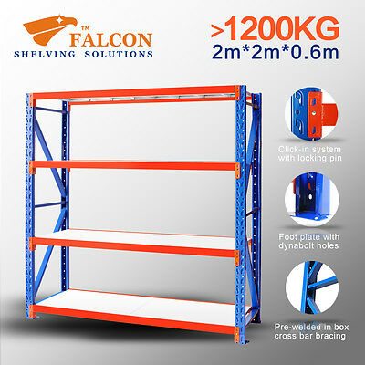 1.2t+ Long Span Storage Warehouse Shelving Racking Racks Shelf Shelves, 2x2x0.6m